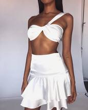 skirt,white skirt,top,white top
