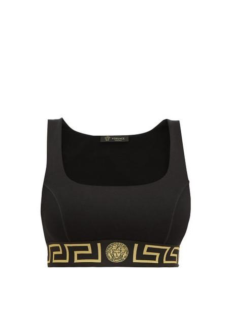 Versace - Logo Jacquard Low Impact Sports Bra - Womens - Black