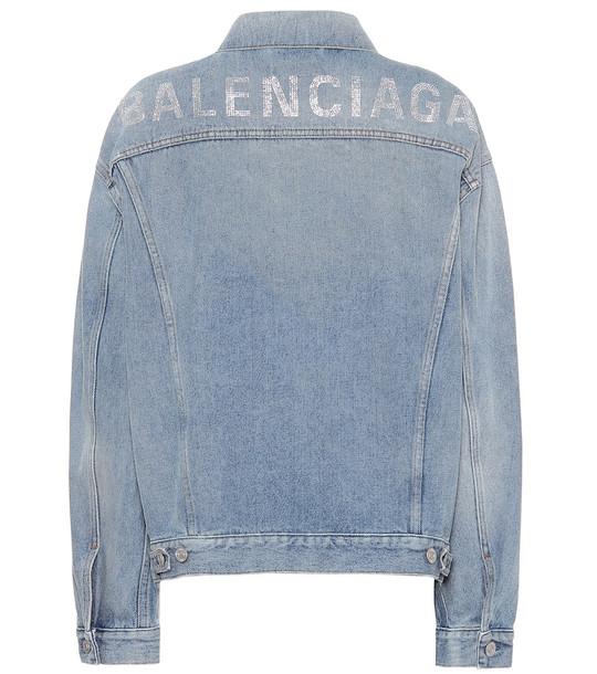 Balenciaga Logo embellished denim jacket in blue