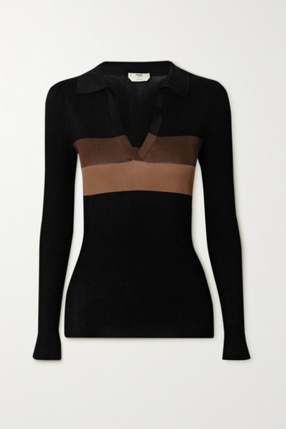 Fendi - Striped Ribbed Silk Sweater - Black