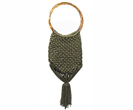 Viscose macramé bag with bamboo handle