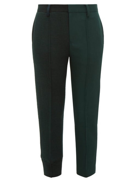 Undercover - Mid Rise Wool Jersey And Canvas Capri Trousers - Womens - Dark Green