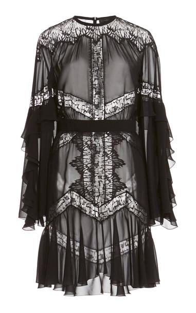 Zuhair Murad Lace-Detailed Crepe Mini Dress in black