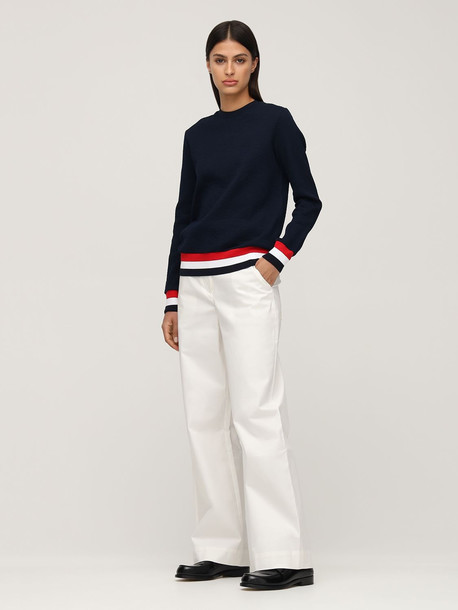 THOM BROWNE Cotton Knit Sweater W/stripe Detail in blue / multi
