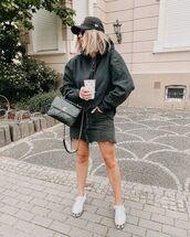 skirt,denim skirt,black skirt,white sneakers,bomber jacket,chanel bag,cap