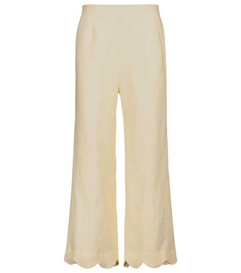 Lisa Marie Fernandez Linen high-rise straight pants in yellow