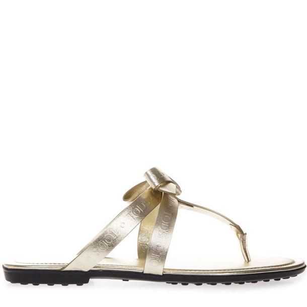 Tod's Laminate Gold Leather Logo Flip Flop Sandal
