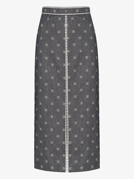 Fendi Karligraphy denim pencil skirt