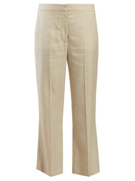 Stella Mccartney - High Rise Slubbed Crepe Trousers - Womens - Beige