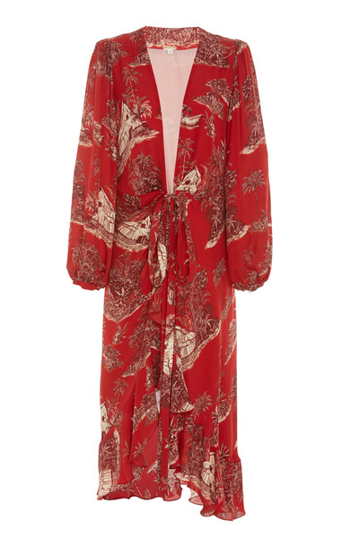 Johanna Ortiz Cuando El Rio Suena Printed Cotton-Voile Midi Dress Size