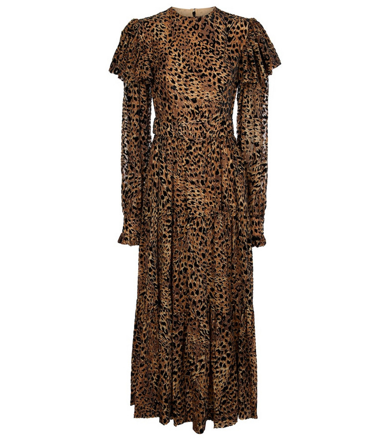 Costarellos Anisa leopard-print midi dress in brown