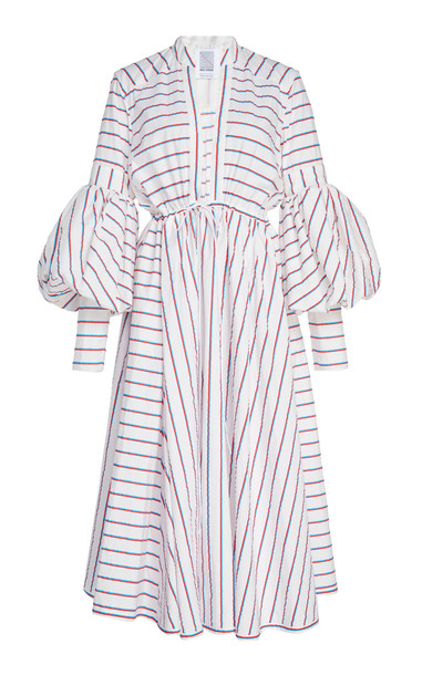 Rosie Assoulin Striped Cotton-Poplin Midi Dress Size: 2 in red