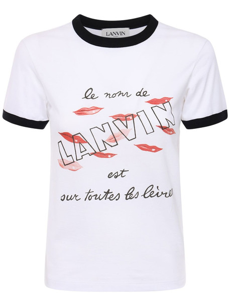 LANVIN Logo Print Cotton Jersey T-shirt in white / multi