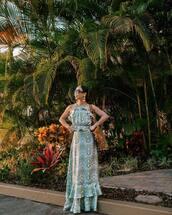 dress,maxi dress,floral dress,sleeveless dress,halter neck,halter dress,shoulder bag