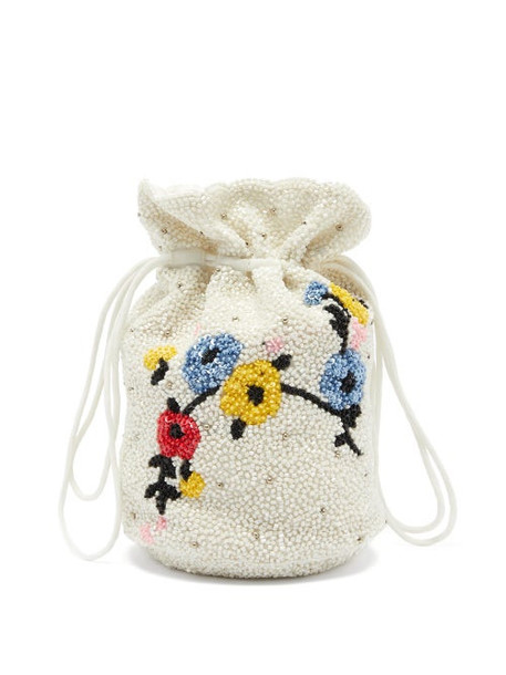 Ganni - Hand-beaded Floral Drawstring Pouch - Womens - White Multi