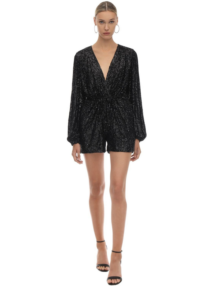 IN THE MOOD FOR LOVE Sequined Romper in black