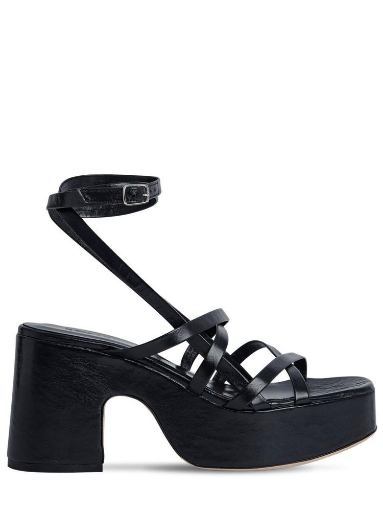 BY FAR 90mm Pamela Leather Sandals in black