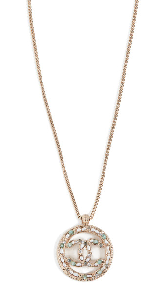 What Goes Around Comes Around Chanel Gold/Crystal Imitation Pearl CC Circle Necklace