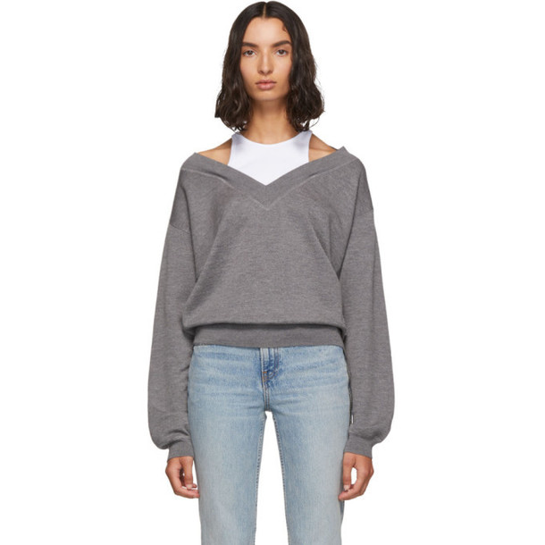alexanderwang.t Grey and White Cropped Bi-Layer V-Neck Sweater