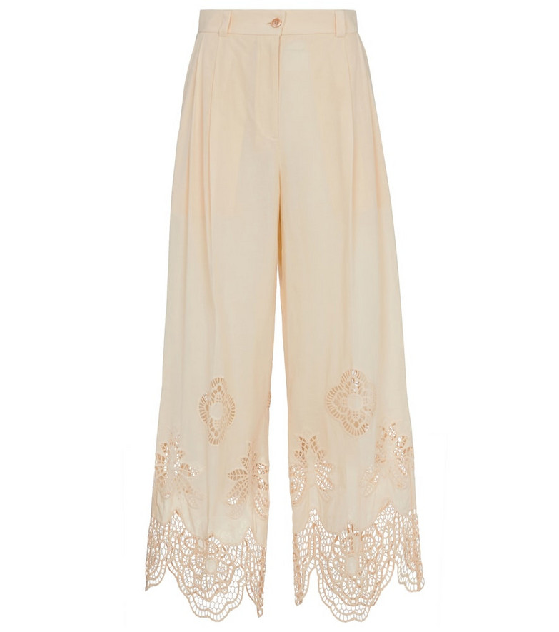 See By Chloé Broderie anglaise wide-leg pants in pink