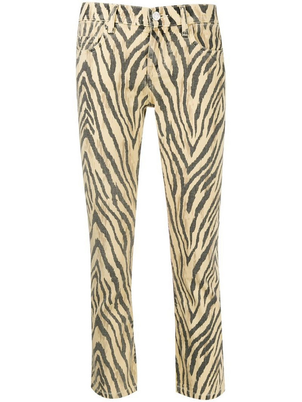 Current/Elliott zebra print cropped trousers in yellow