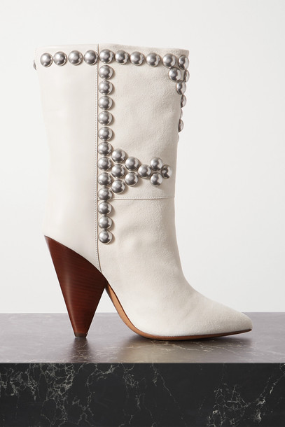 ISABEL MARANT - Layo Studded Leather And Suede Ankle Boots - White
