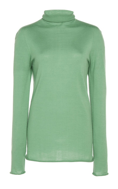 Boontheshop Collection Silk And Wool-Blend Turtleneck Size: M in green