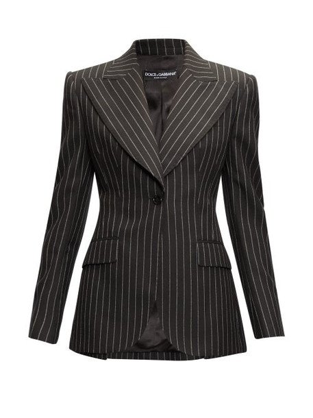 Dolce & Gabbana - Pinstripe Peak-lapel Wool Blazer - Womens - Grey Multi