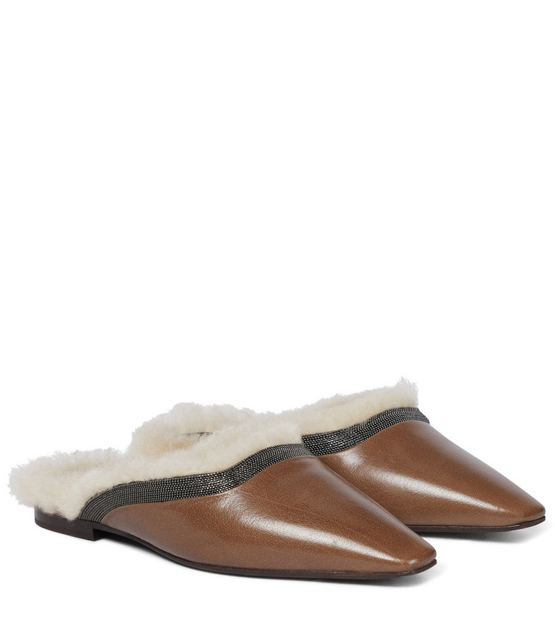 Brunello Cucinelli Leather and shearling slippers in brown