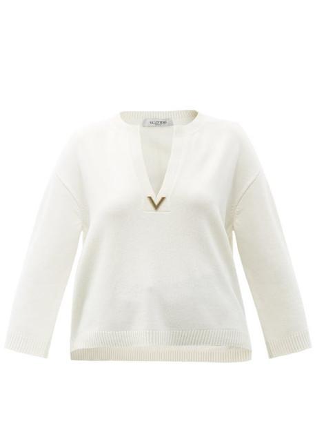Valentino - V-plaque Cashmere Sweater - Womens - Ivory
