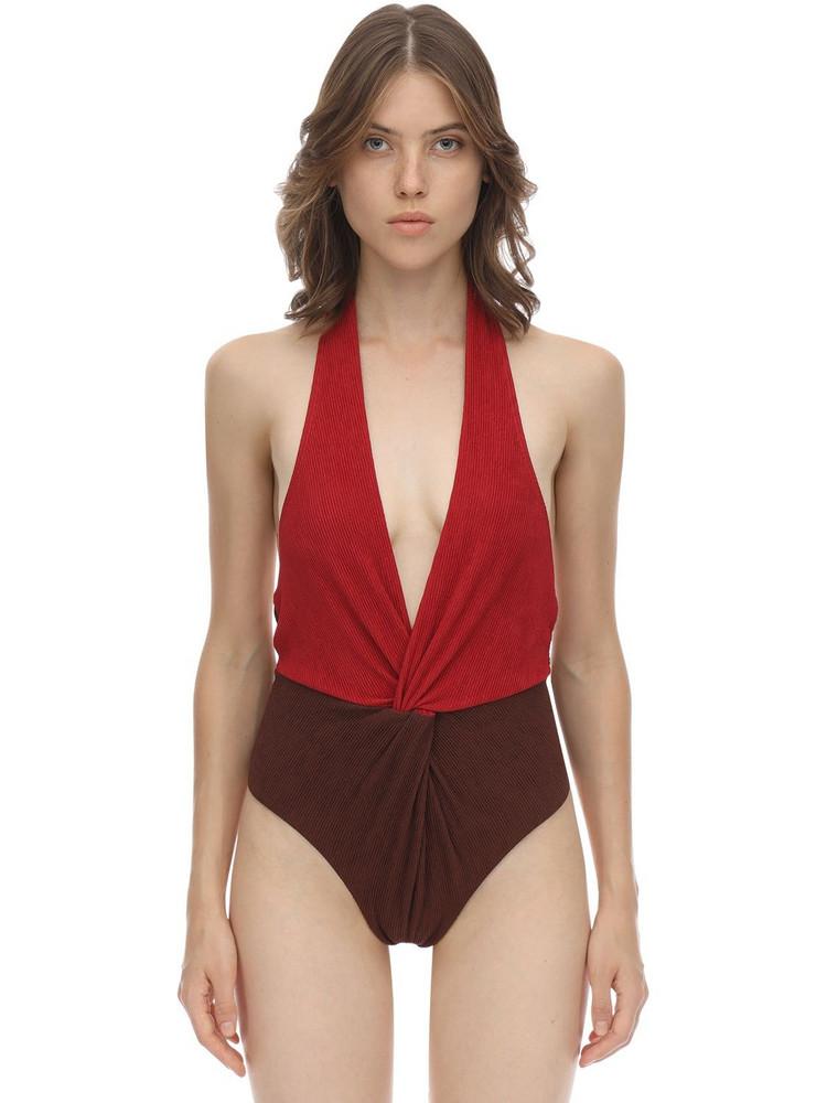 SELF-PORTRAIT Halter Seersucker One Piece Swimsuit in brown / red