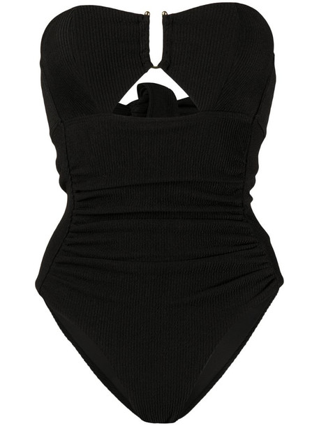 Self-Portrait ribbed strapless swimsuit in black