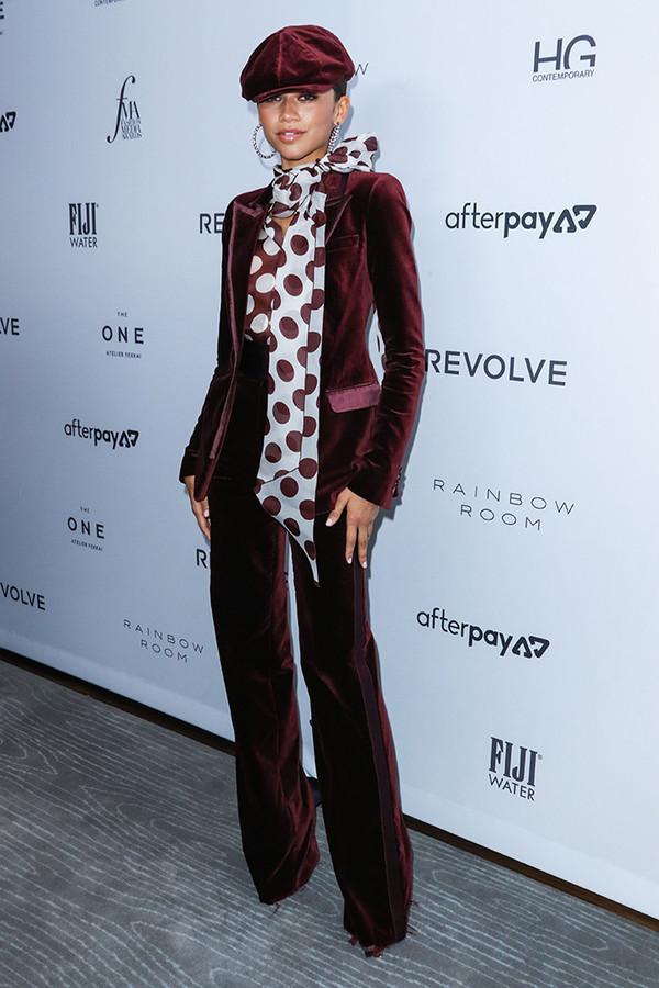 jacket burgundy suit pants zendaya blouse top polka dots celebrity velvet