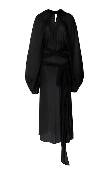 Maison Margiela Cotton-Silk Wrap Dress Size: 36 in navy