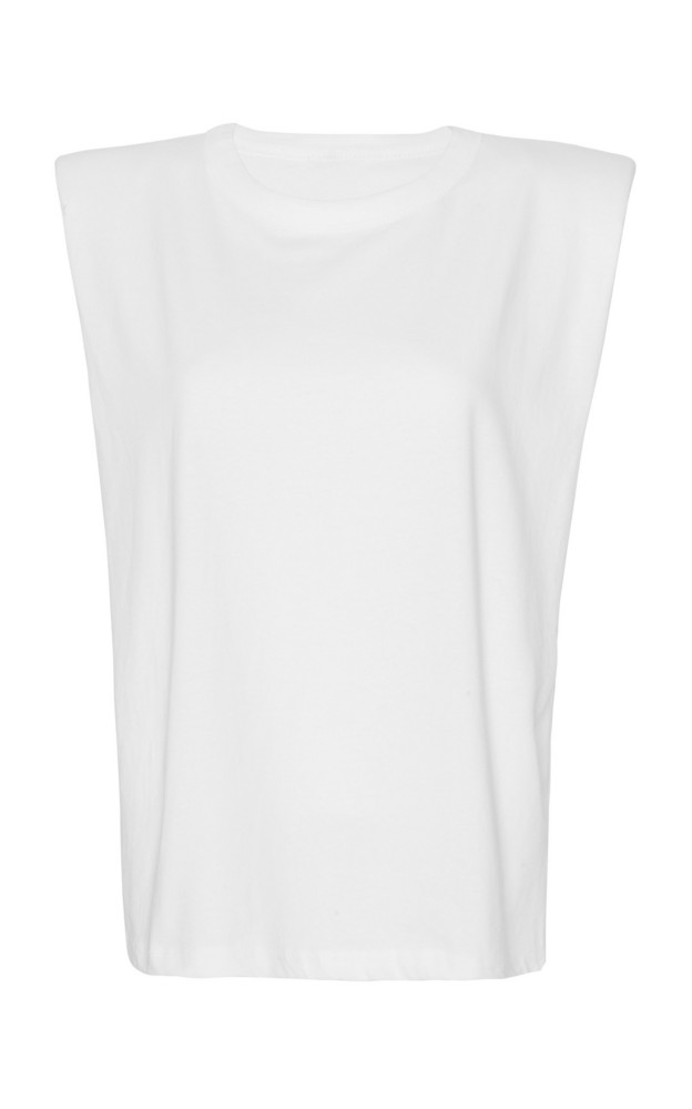 The Frankie Shop Eva Padded-Shoulder Cotton Muscle T-Shirt in white