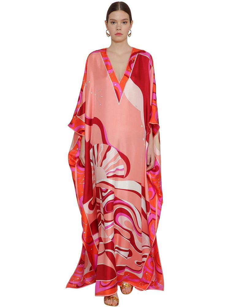 EMILIO PUCCI Printed Silk Twill Caftan Dress