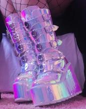 shoes,holographic,platform boots,festival boots,iridescent