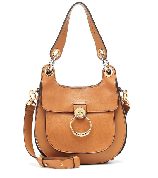 Chloé Tess Small leather shoulder bag in brown