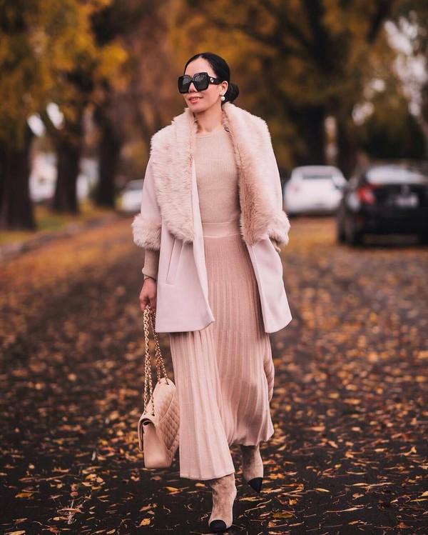 skirt pleated skirt pink skirt heel boots chanel bag pink bag pink coat pink sweater