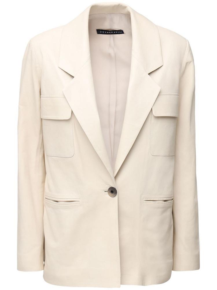 ZEYNEP ARCAY Leather Suit Jacket in white