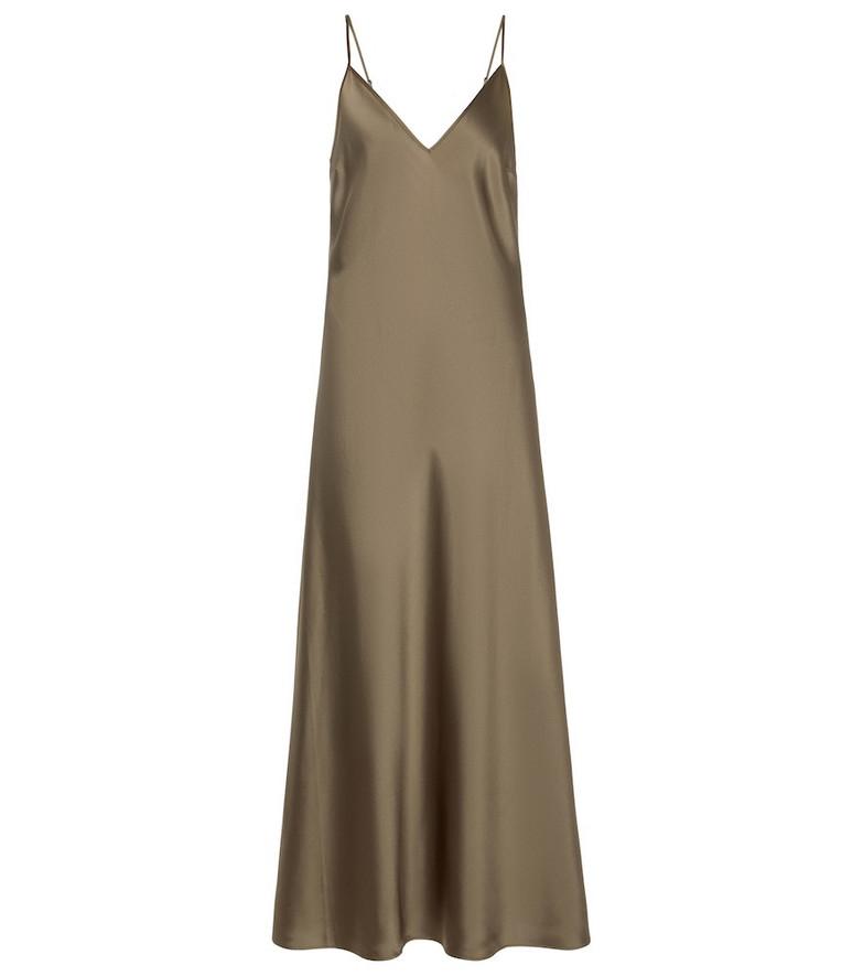 JOSEPH Clea silk satin midi dress in green