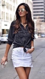 top,cute,grey denim,grey,white mini skirt,ootd,streetstyle,;)