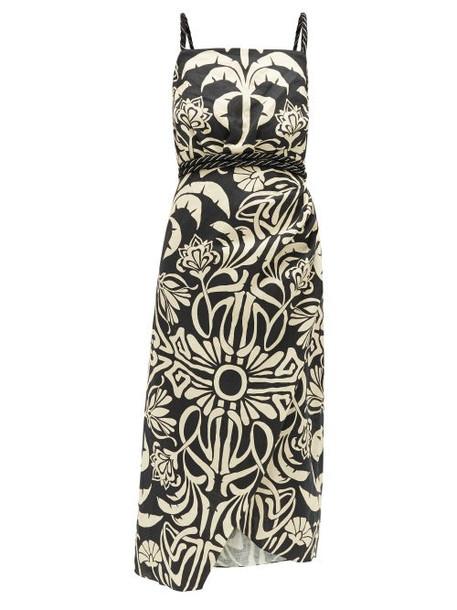 Johanna Ortiz - Stylised Muse Floral-print Linen-blend Midi Dress - Womens - Cream Multi
