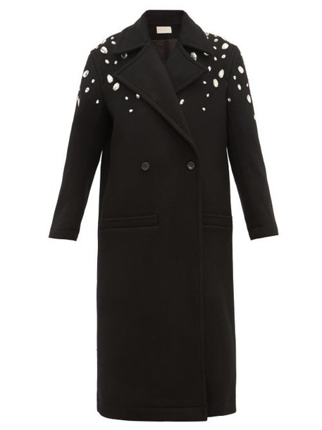 Christopher Kane - Crystal Embellished Wool Blend Coat - Womens - Black