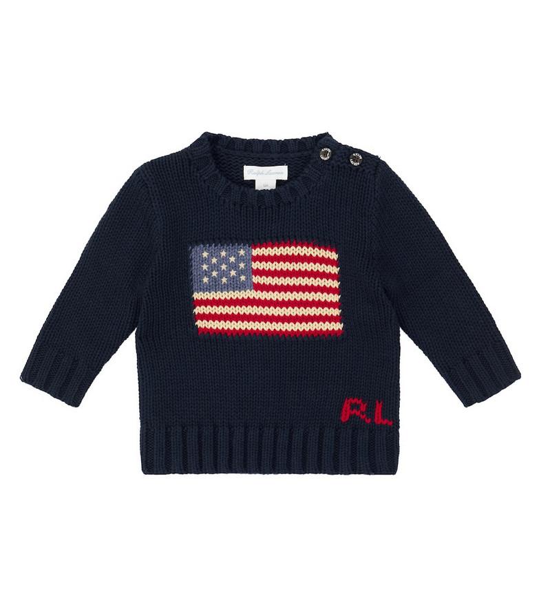 Polo Ralph Lauren Kids Flag cotton crewneck sweater in blue