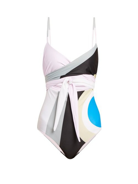 Mara Hoffman - Isolde Wrapover Cut Out Swimsuit - Womens - Grey Multi