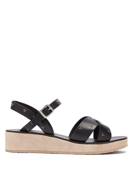 A.P.C. A.p.c. - Studded Cross Strap Leather Sandals - Womens - Black