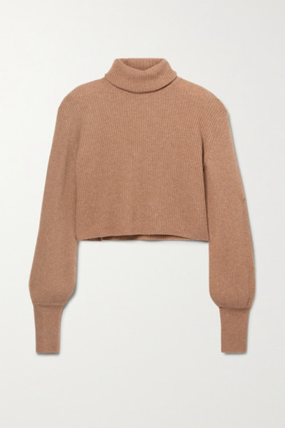 Reformation - Luisa Cropped Ribbed Cashmere Turtleneck Sweater - Camel