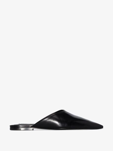 Jil Sander Black pointed leather mules