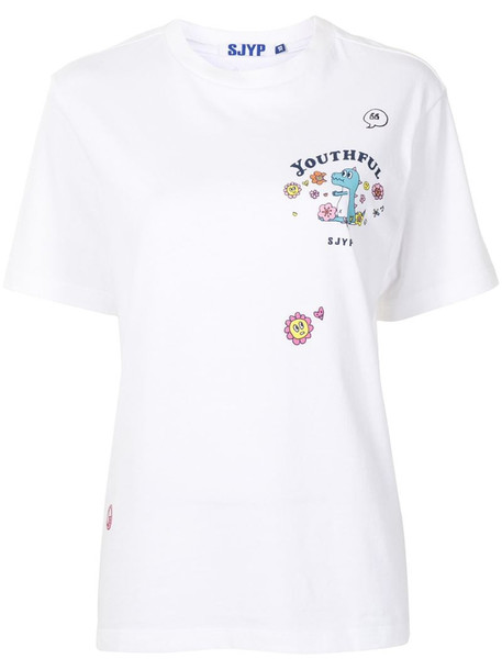 SJYP Flower Play Dino cotton t-shirt in white